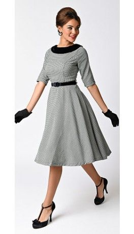 dbfe9387a30b Hell Bunny 1950s Style Houndstooth Half Sleeve Jackson Swing Dress ...