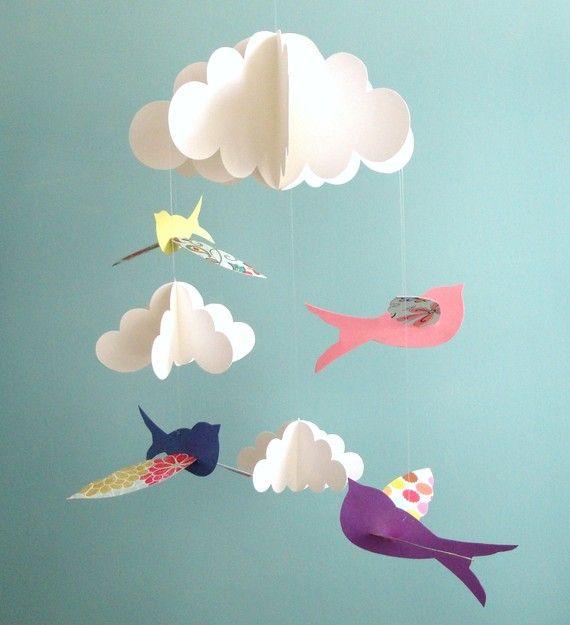 oiseau mobile mobile b b oiseaux et nuage mobile mobile id es bricoler faire soi m me. Black Bedroom Furniture Sets. Home Design Ideas