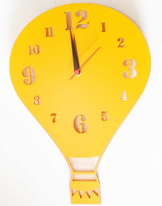 Hot Air Balloon Wooden Wall Clock Gender Neutral Baby Room Decor Nursery Childrens Shower