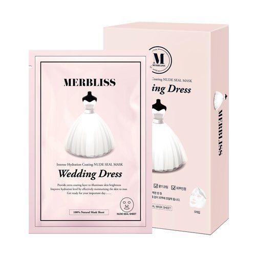 MERBLISS Wedding Dress Series Intense Hydration Coating Nude Seal Face Mask Sheet - 5 Pack, Sea Breeze Astringent Original Size: 10 Oz + Beyond BodiHeat Patch, 1 Ct