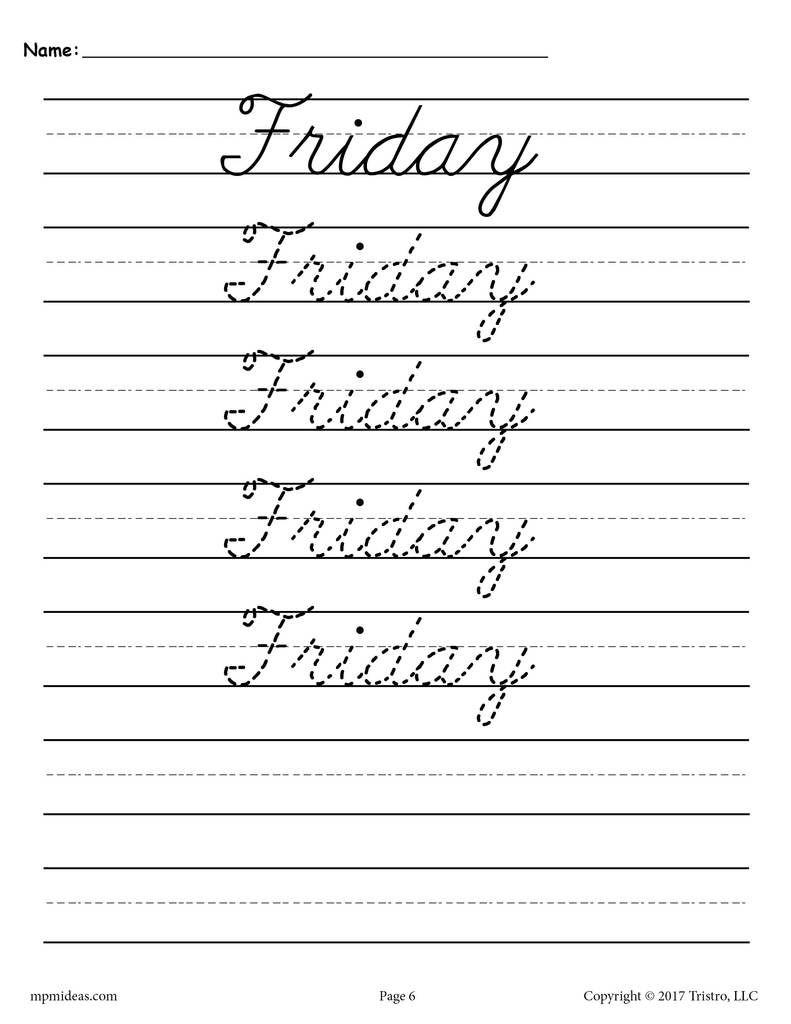 7 Days Of The Week Cursive Handwriting Worksheets Cursive Handwriting Worksheets Cursive Writing Worksheets Cursive Handwriting [ 1024 x 791 Pixel ]