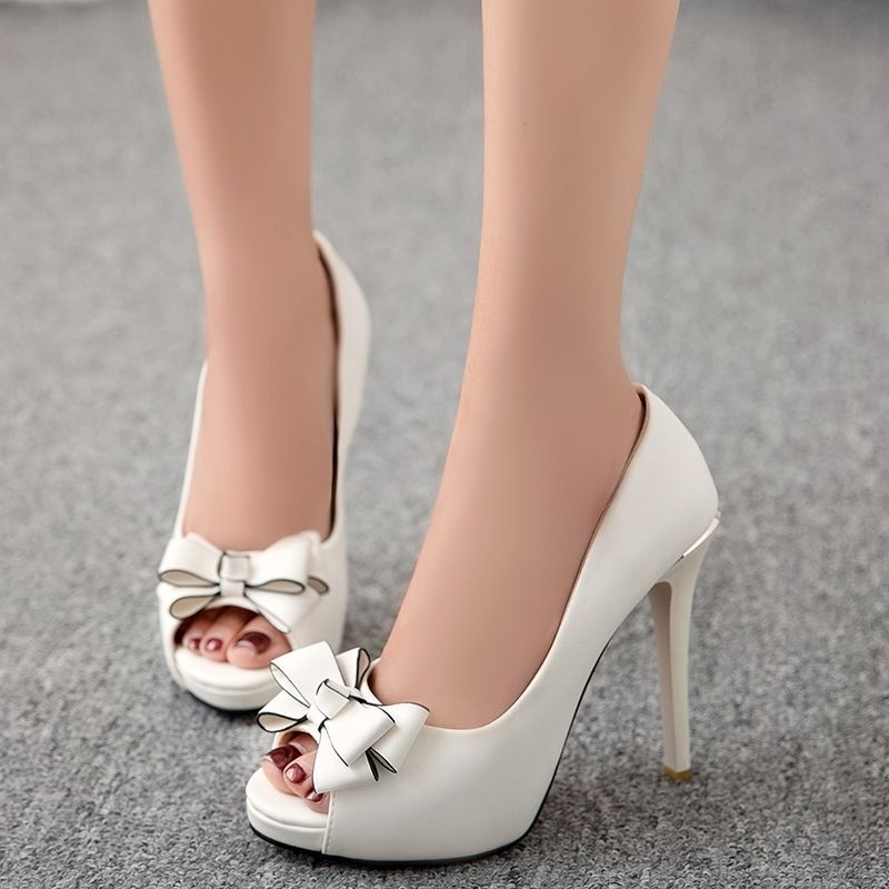 a6b52b1a6e24 Shoespie Cute Bow Solid Color Platform Heels - Was And Now - online shopping  with discounted prices