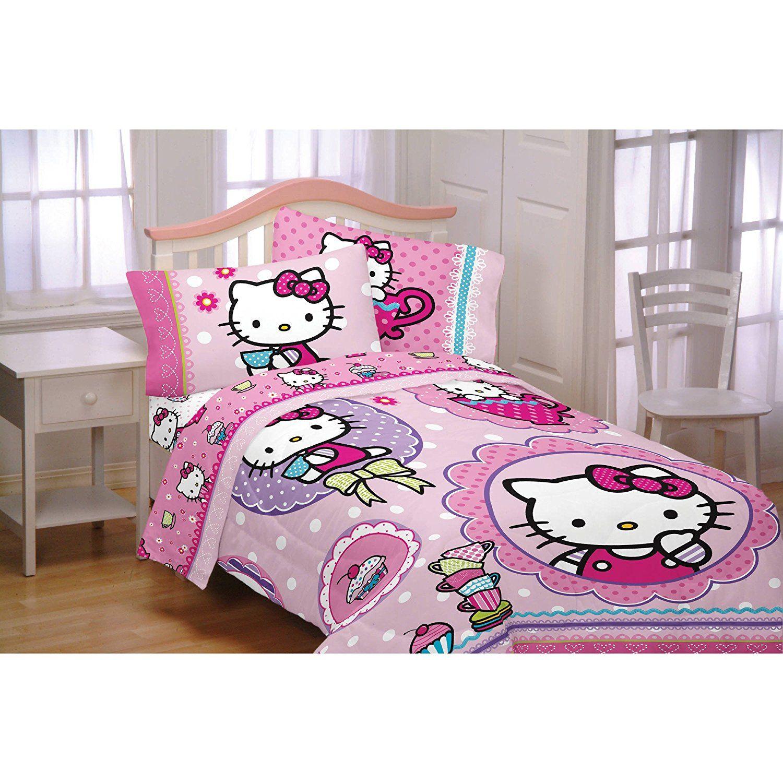 Hello Kitty Cupcakes & Tea Girls Twin Comforter & Sheet