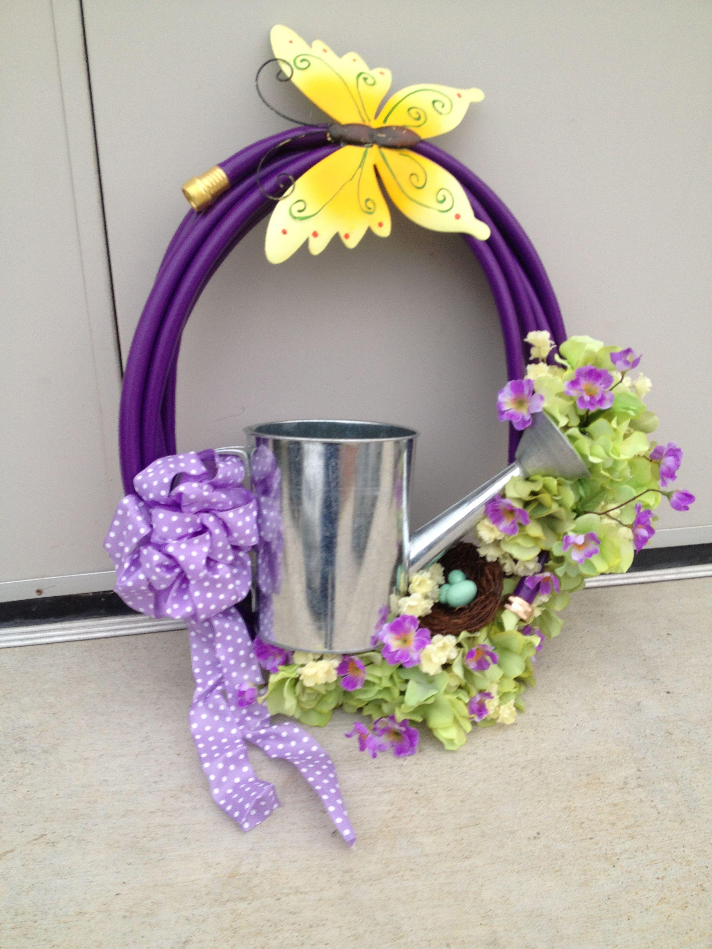 Garden hose wreath I made