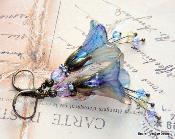 Lucite Flower Earrings,'Waterlily', Victorian Earrings, Boho Earrings, Hand Painted, Dangle Earrings, Swarovski Crystals, Drop Earrings
