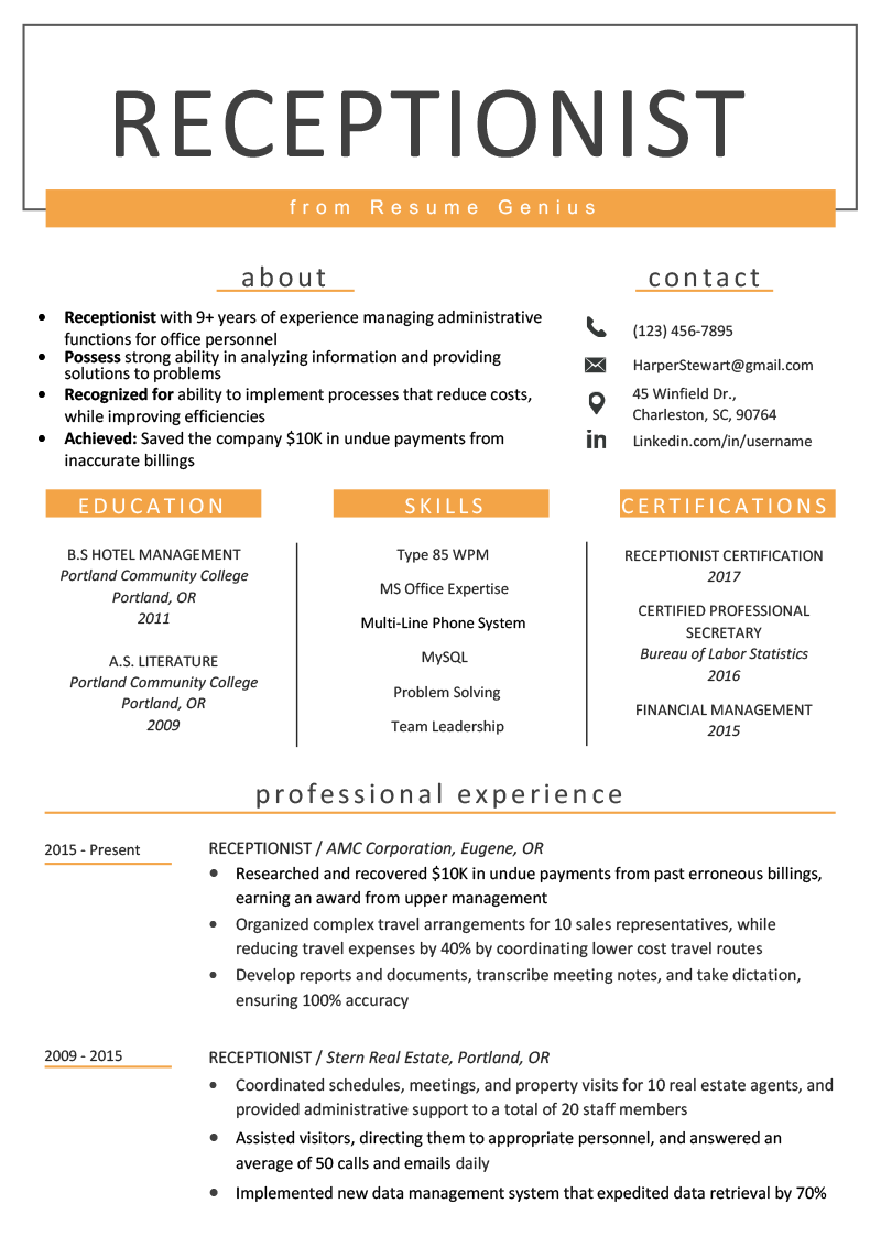 Receptionist Resume Sample & Writing Guide Resume