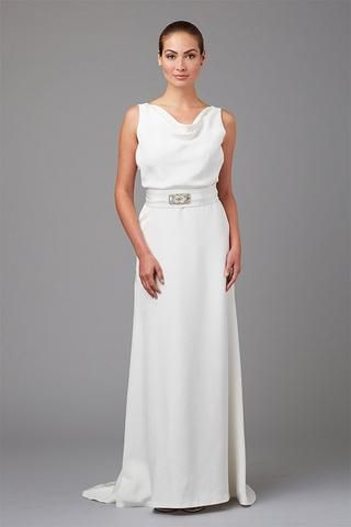 Siri Miramax is sleek and chic. The low cowl neckline is modest, yet the low V…