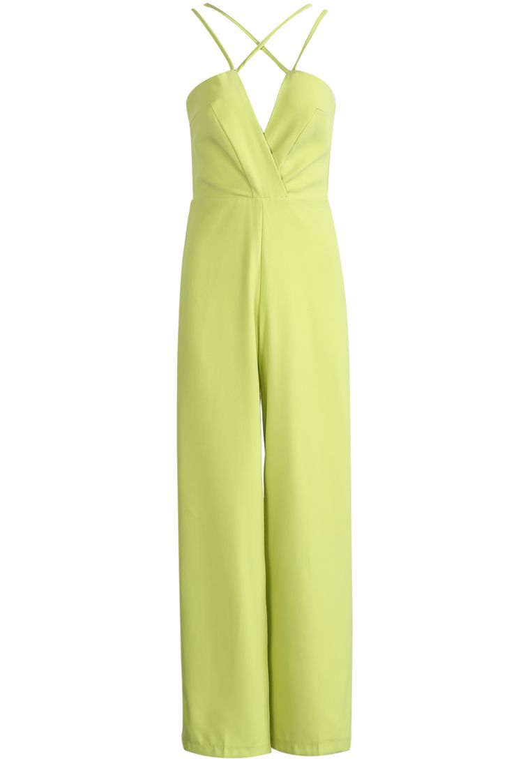 Neon green spaghetti strap backless loose jumpsuit beautiful