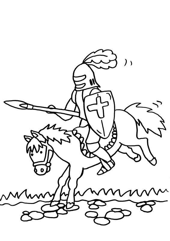 Ausmalbild Ritter: Kostenlose Malvorlage: Ritterturnier kostenlos