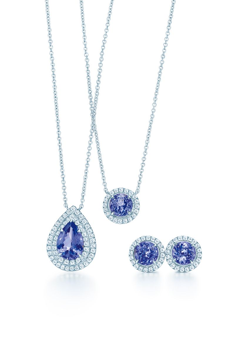 The Rad Tiffany Soleste Designs In Platinum From Left Pendant With A Pear Shaped Tanzanite Round And Earrings