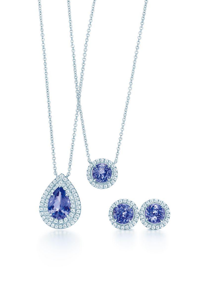1cdfe6f84 Tiffany Soleste® designs in platinum, from left: pendant with a pear-shaped  tanzanite, pendant with a round tanzanite and earrings with round  tanzanites.
