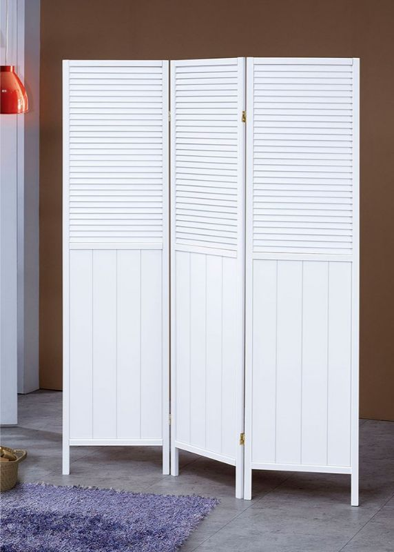 3 Panel Solid Wood Screen Room Divider Blinds Shades: Asia Direct 5420 3 Panel White Shutter Style Room Divider