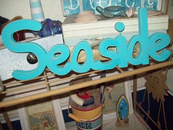 BEACH decor SEASIDE letters signbeach by JulieannasCreations, $23.00