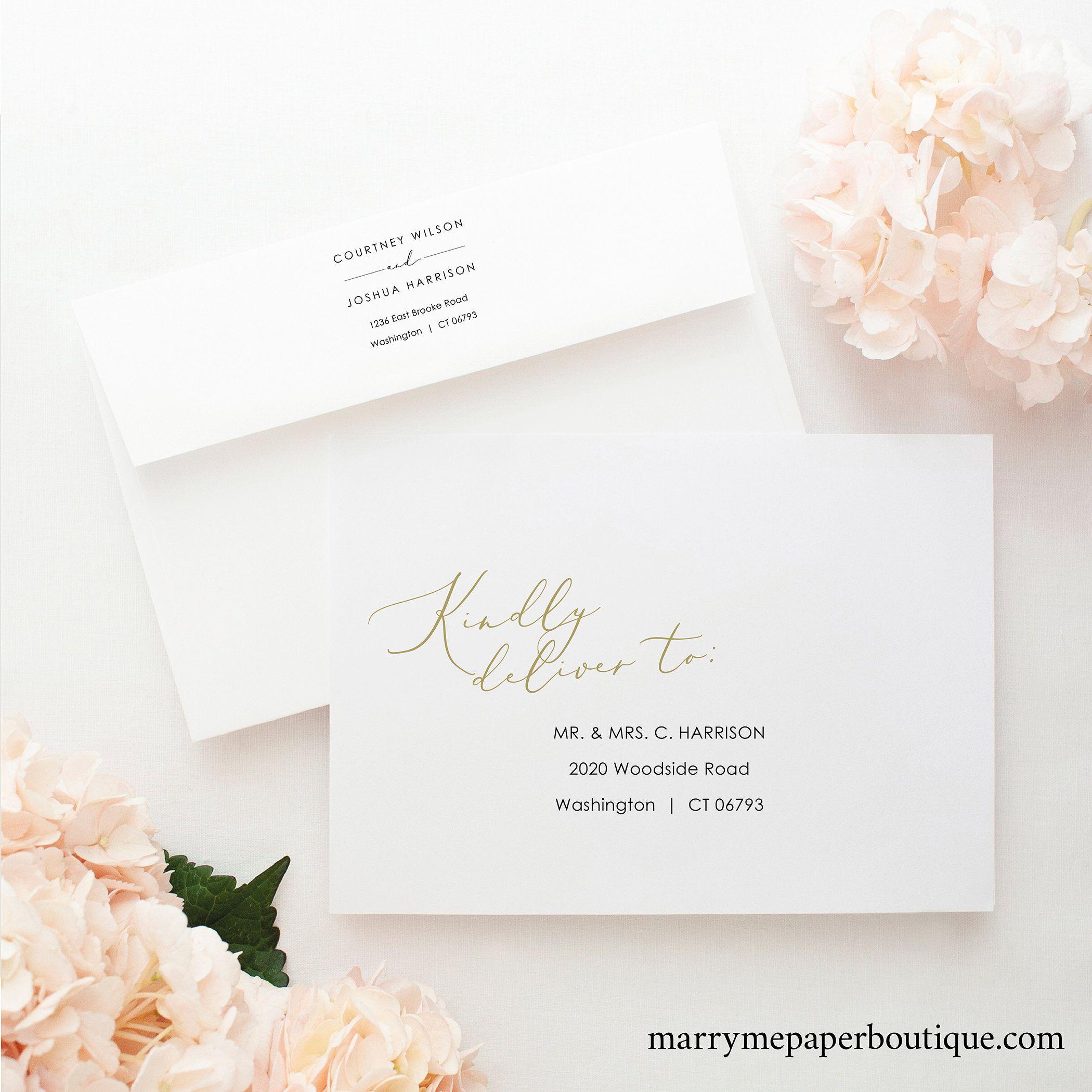 Envelope Address Template Elegant Gold Script Envelope Etsy In 2020 Envelope Addressing Template Addressing Envelopes Addressing Envelopes Wedding