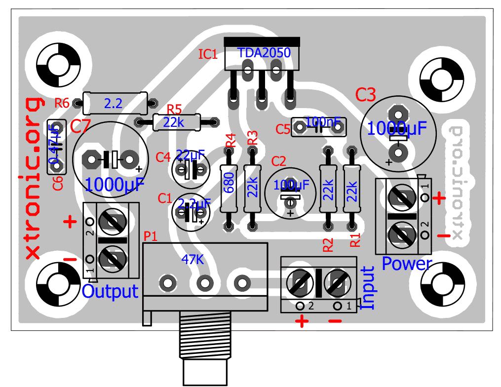 Amplificador Tda 2050 Layout 700x541 Transistor Power Amplifier Audio Circuit Circuits 32w Hi Fi