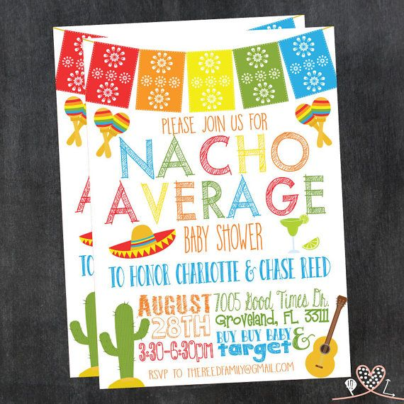 4e7bd791bd2 NACHO AVERAGE Baby Shower Invitation  Fiesta Theme  By PrintableLovelies