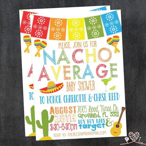 nacho average baby shower invitation fiesta theme by