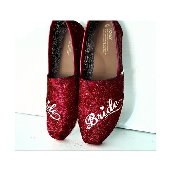 Womens Sparkly Glitter Toms Flats shoes bridal Bride Wedding Comfortable  Burgundy Maroon Red Wine - Glitter Shoe Co d4ea71923