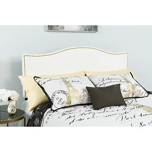 Best Upholstered Queen Size Arched Headboard With Accent Nail 400 x 300