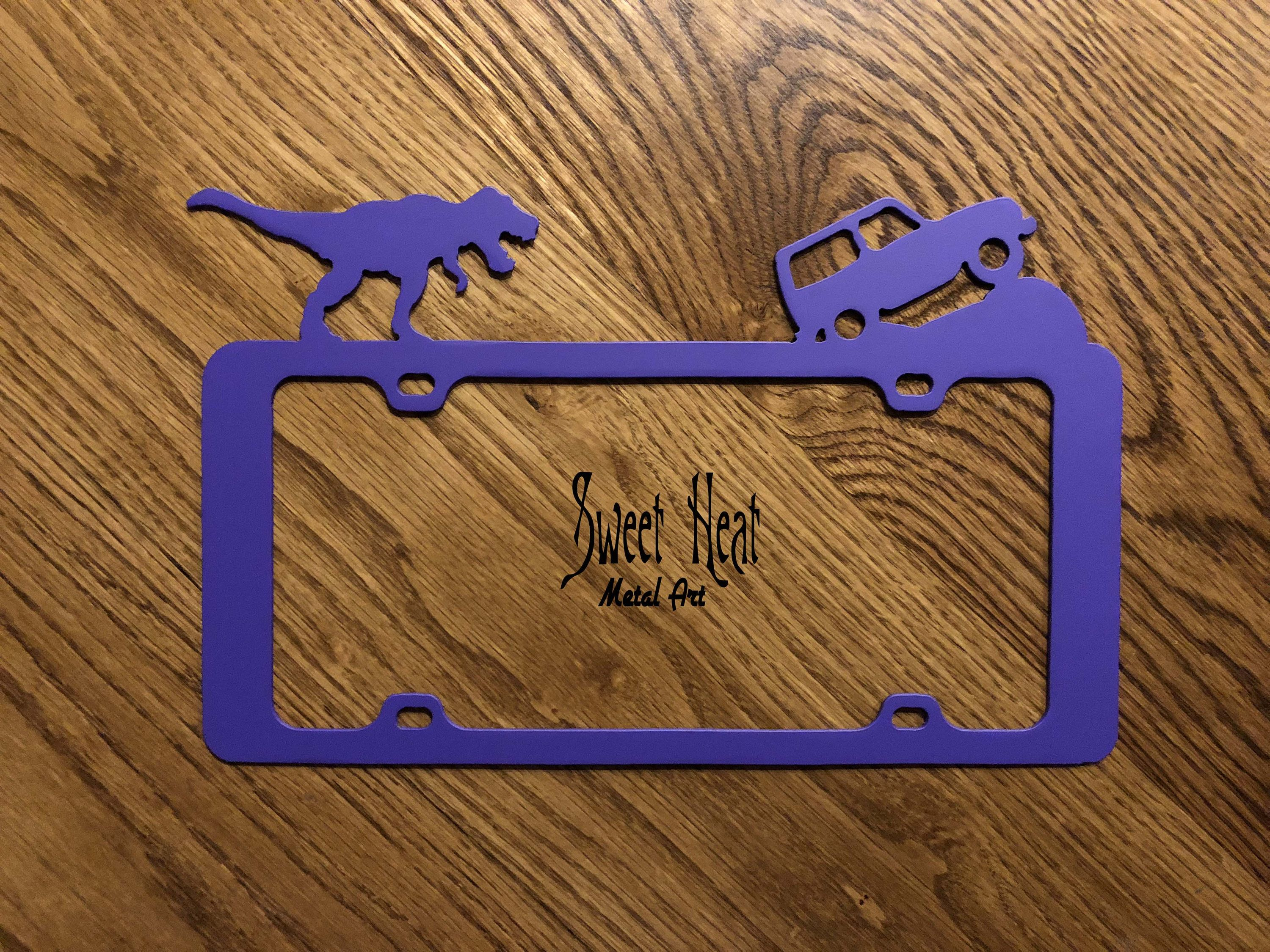 Dinosaur Chasing Jeep Off Road Purple License Plate Frame