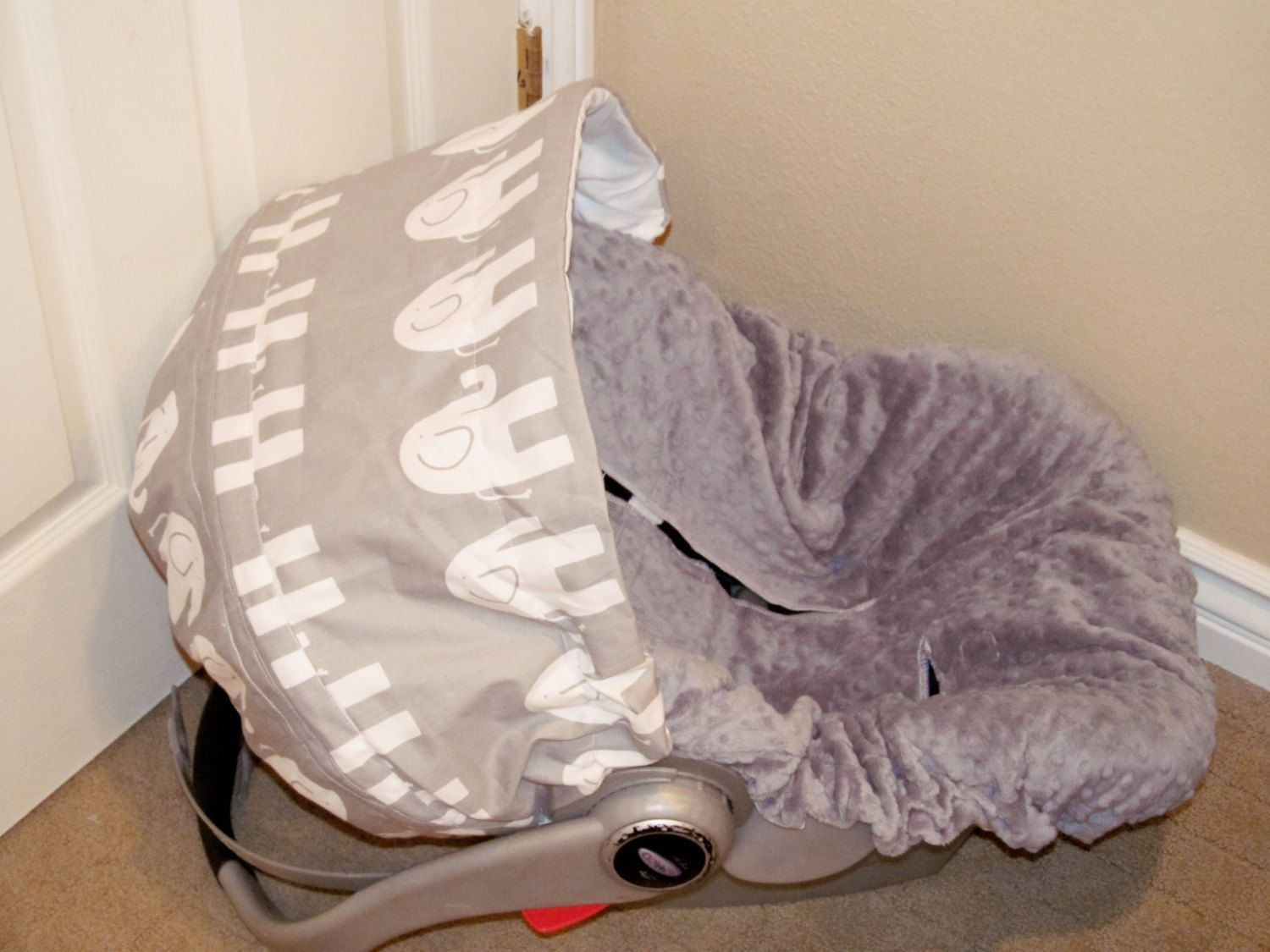 Infant Car Seat Cover Baby Grey Elephants By Chubbybaby On