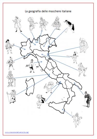 Trovate la penisola divisa in regioni con alcune maschere for Cartelloni di carnevale scuola primaria