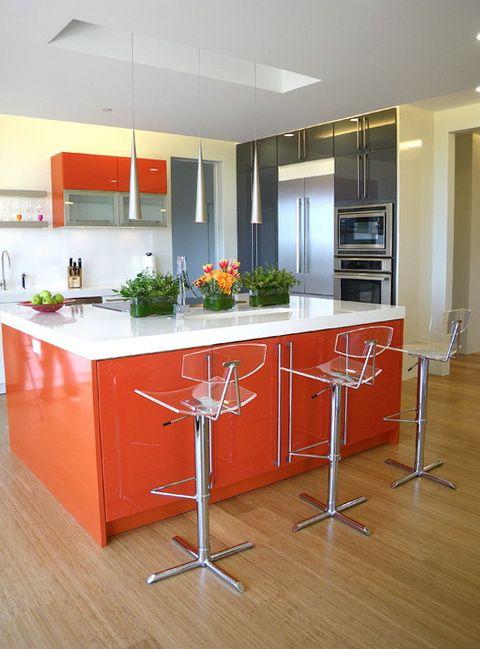 orange with green Orange Kitchen In The Interior architecture