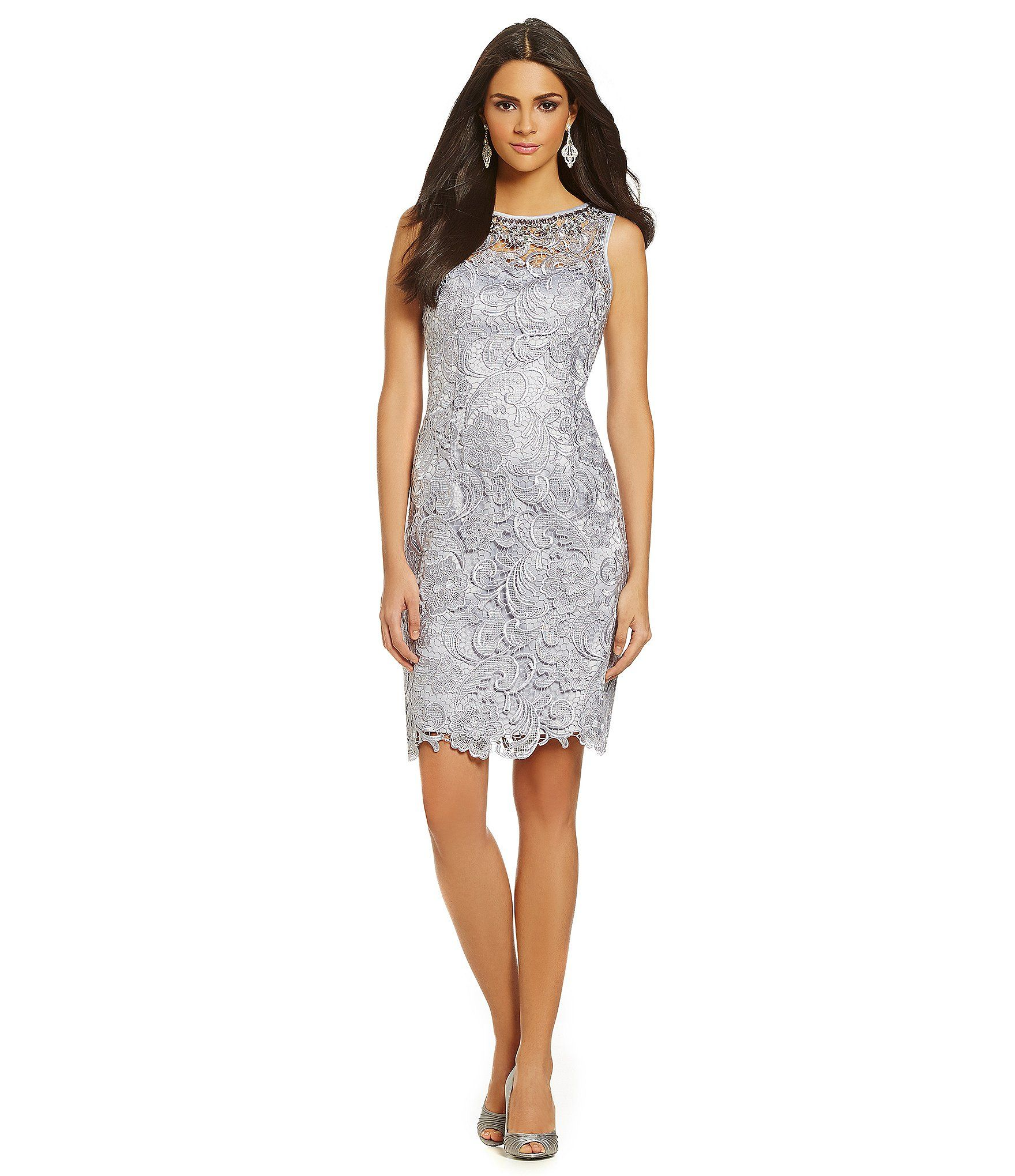 Adrianna papell embellished lace cocktail dress dillards