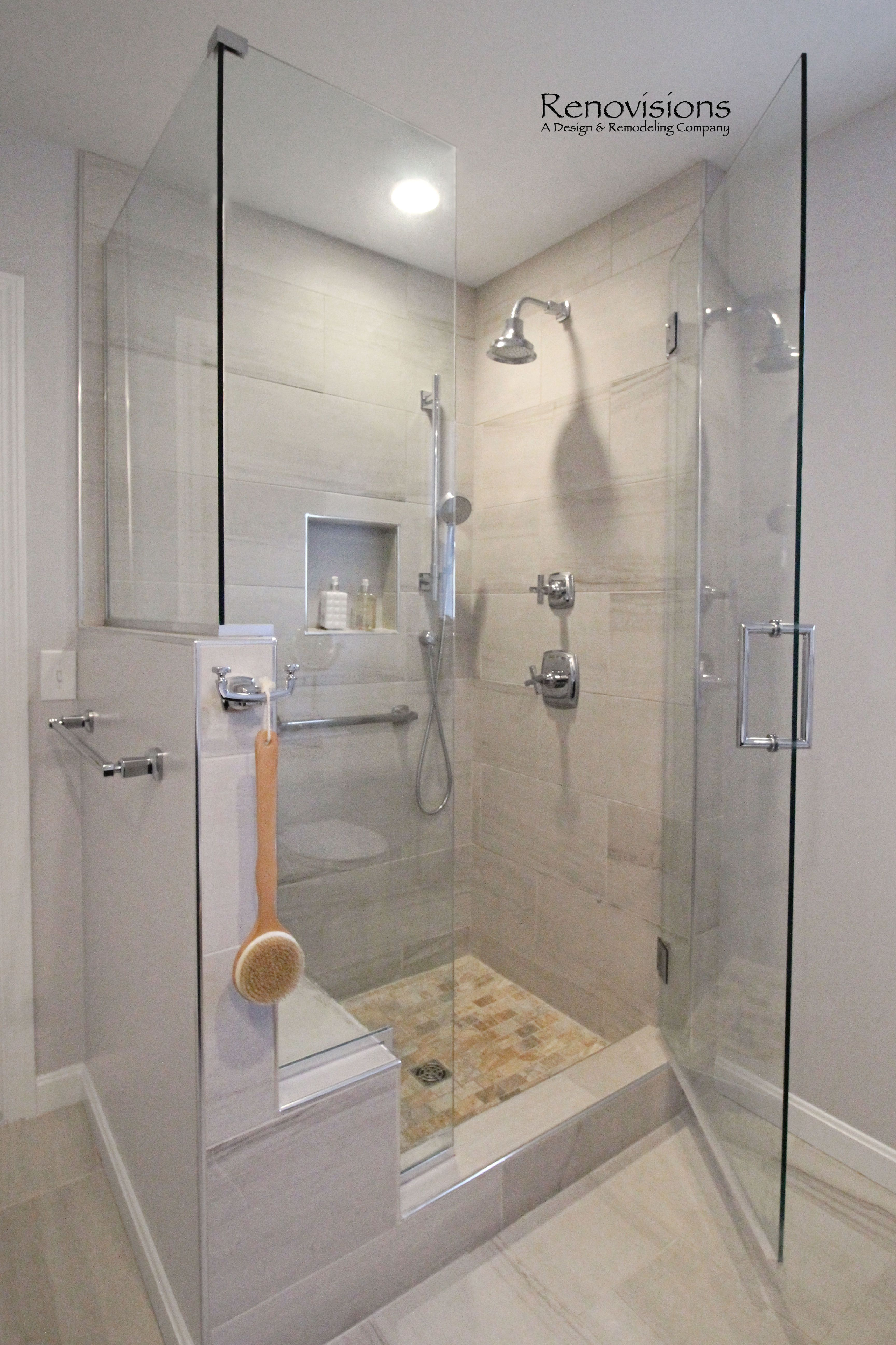 A completed Master Bathroom remodel by Renovisions. Walk-in Shower ...