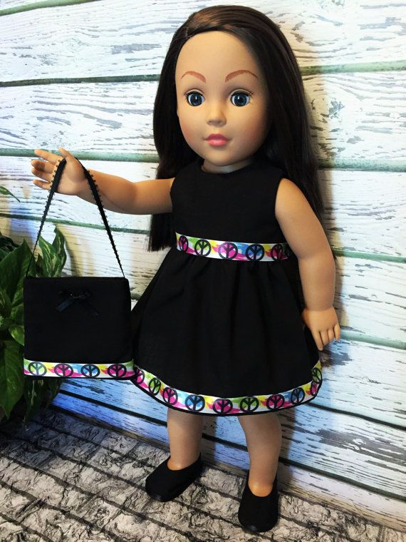 18 Doll Clothes Black Peace Doll Dress and by sassydollcreations