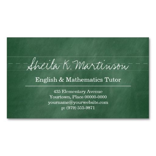 Green Chalkboard Teacher Tutor Business Card. I love this design! It is available for customization or ready to buy as is. All you need is to add your business info to this template then place the order. It will ship within 24 hours. Just click the image to make your own!