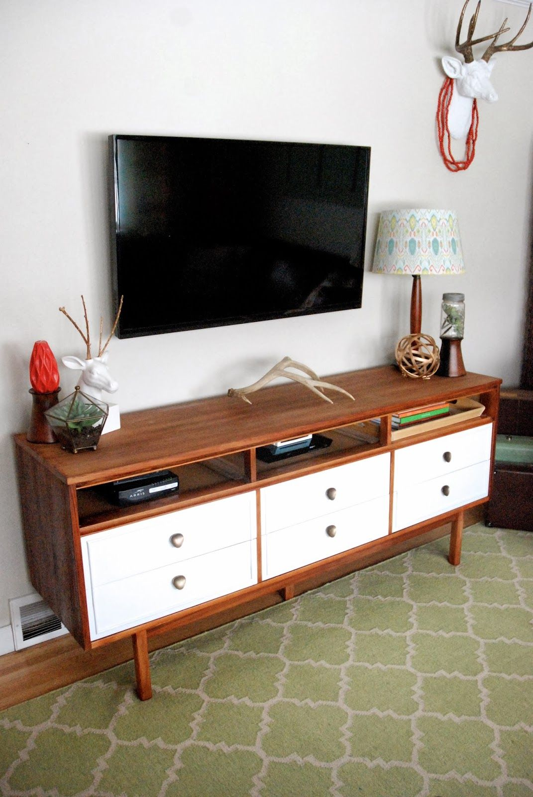 mid century dresser turned tv console dresser and consoles. Black Bedroom Furniture Sets. Home Design Ideas