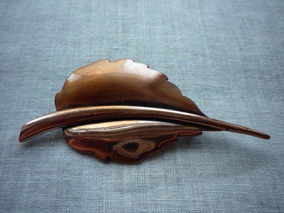 Vintage Renoir Modernistic Copper Leaf Motif Pin Brooch