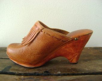 cc0d19e864ddb 70s leather fringe clogs vintage tall wedge mule shoes size 7B ...