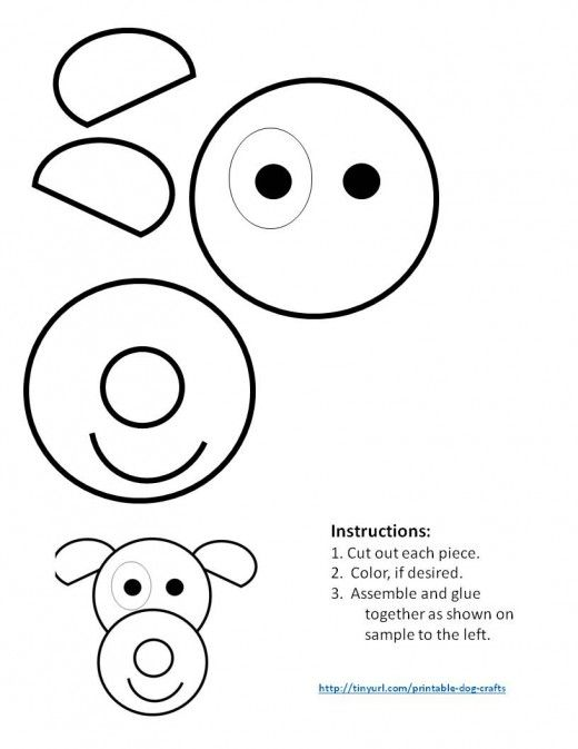 Printable Dog Patterns With Simple Shapes for Kids\' Crafts | Dog ...