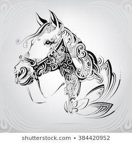 head of horse in the ornament - #   tattoo pferd, pferde
