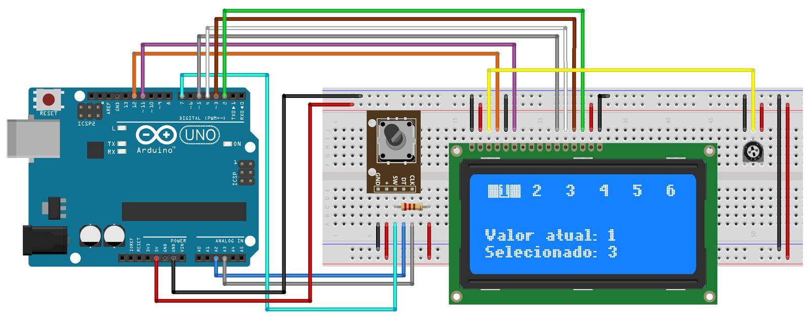 Circuito arduino encoder lcd electrics and