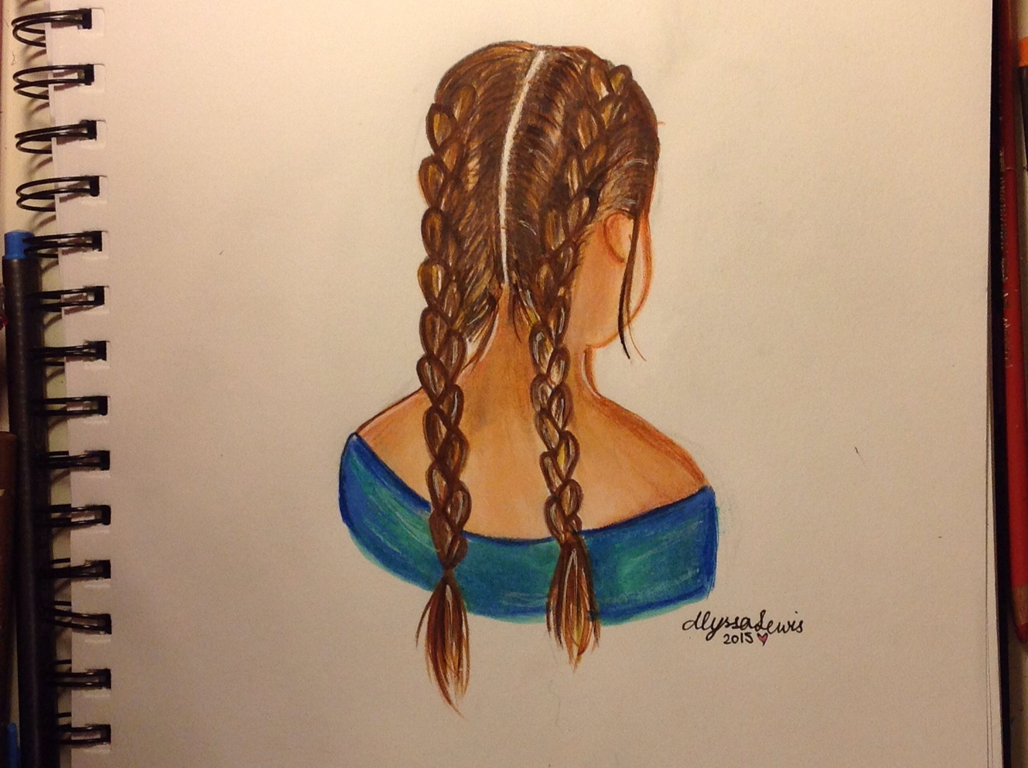 Random Girl With Double French Braids By Alyssa Lewis How To Draw Braids Two Braids Double French Braids