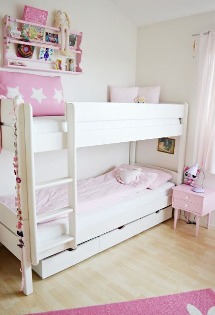 Pink And White Simple Bedroom Shared Girls Room Shared Girls