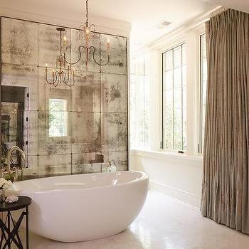 Bain Ultra Spa Tub With Antiqued Mirror French Bathroom Mirrored Wall Bathtub Chandelier