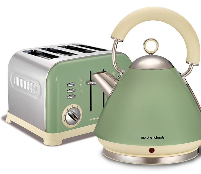 Morphy Richards Accents Kettle And Toaster Set Sage Green Retro Kitchen Appliancesretro