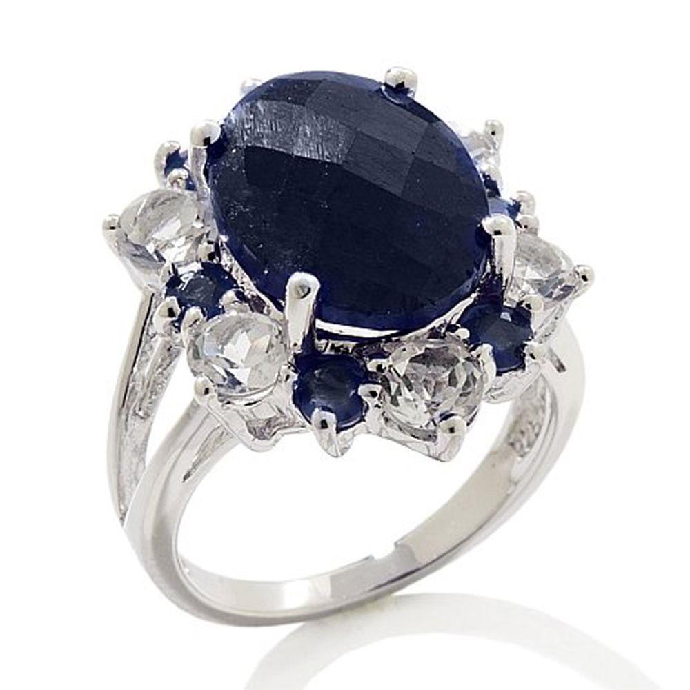 Colleen Lopez Blue Corundum and Gemstone Platinum Plated Cluster Ring 5 #ColleenLopez #Cluster