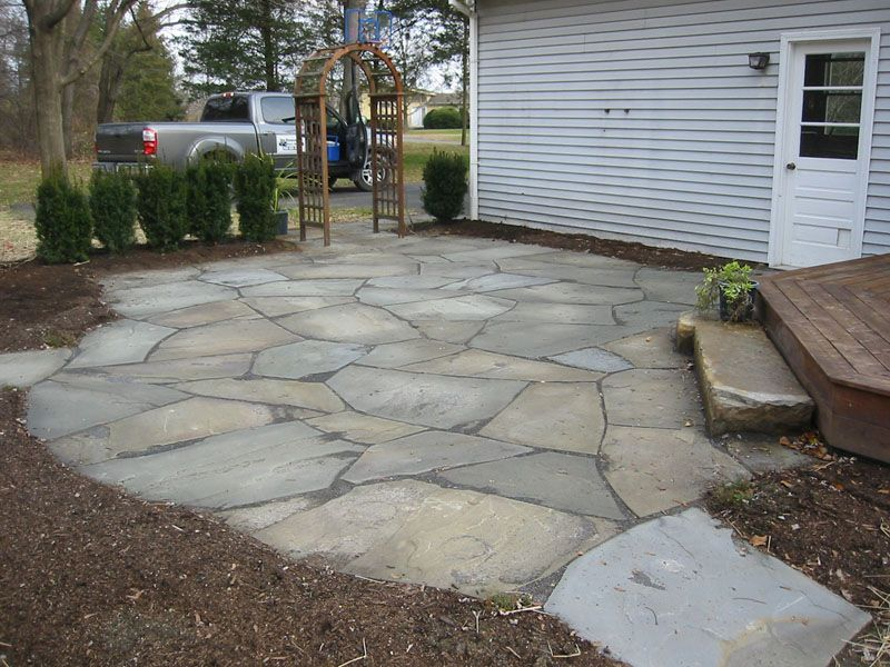 flagstone or stone patios and walkways - Google Search ... on Small Backyard Stone Patio Ideas id=81296