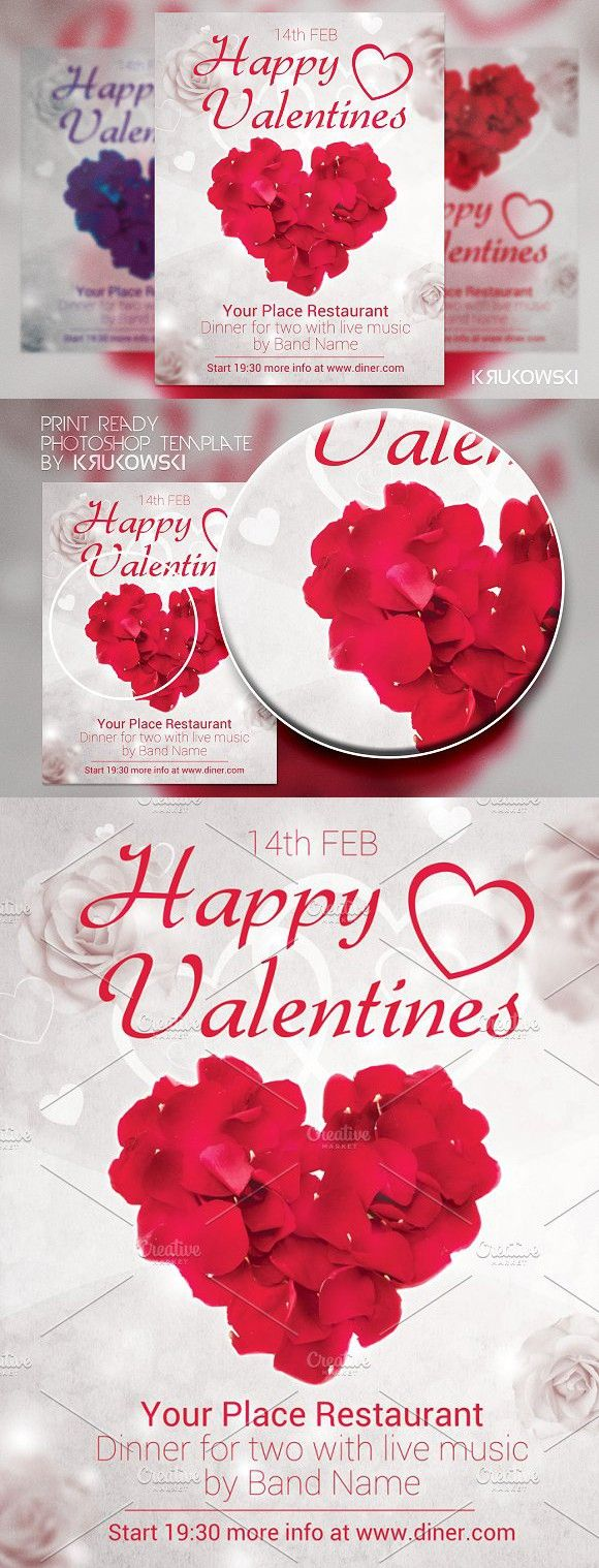 Happy Valentines Flyer. Romantic Fonts