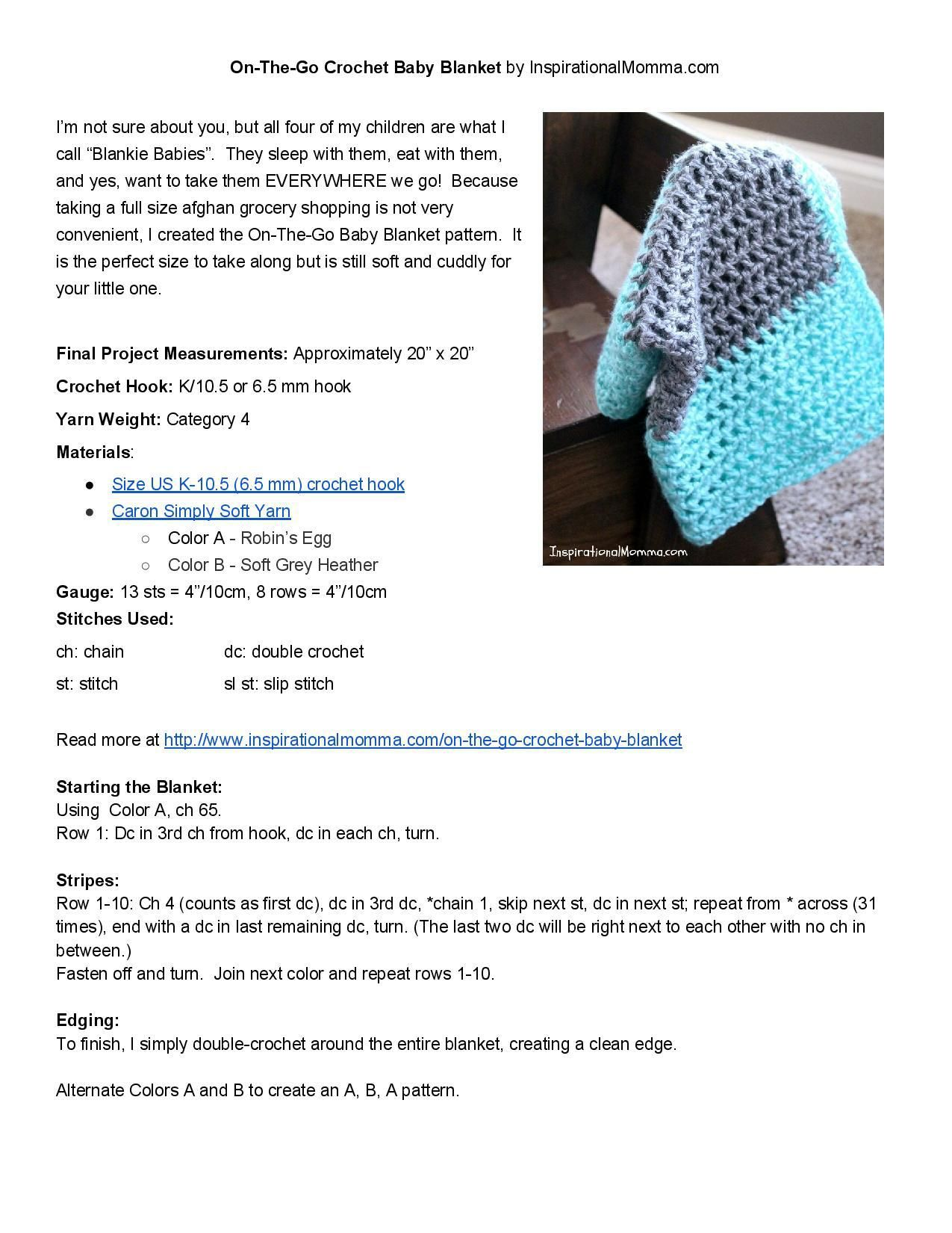 On-The-Go Crochet Baby Blanket | Baby Blanket Patterns | Pinterest ...