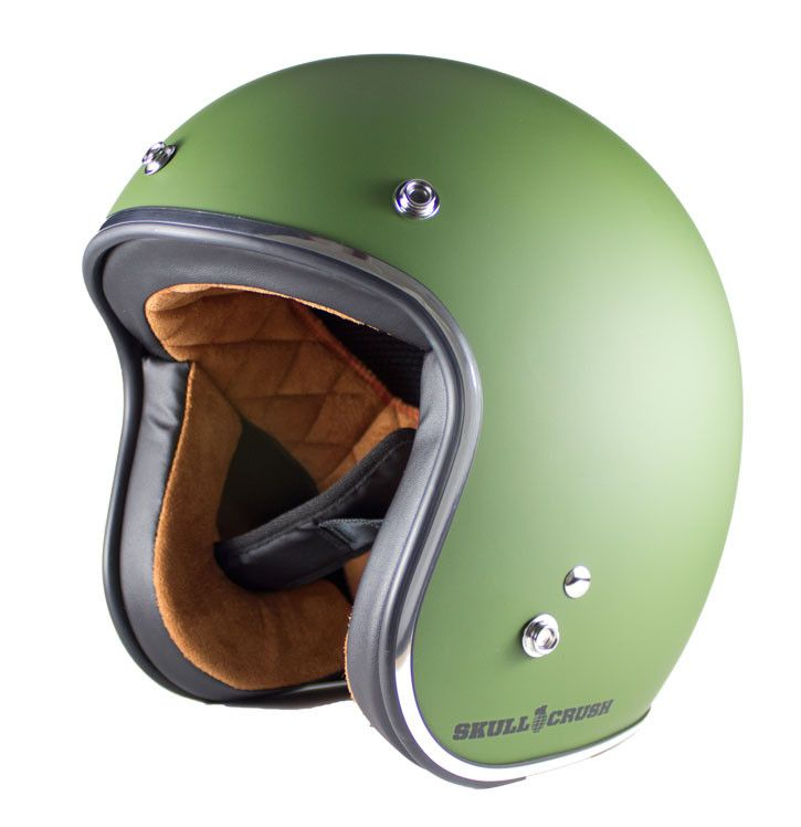 3 4 Open Face Vintage Helmet Military Green Old School