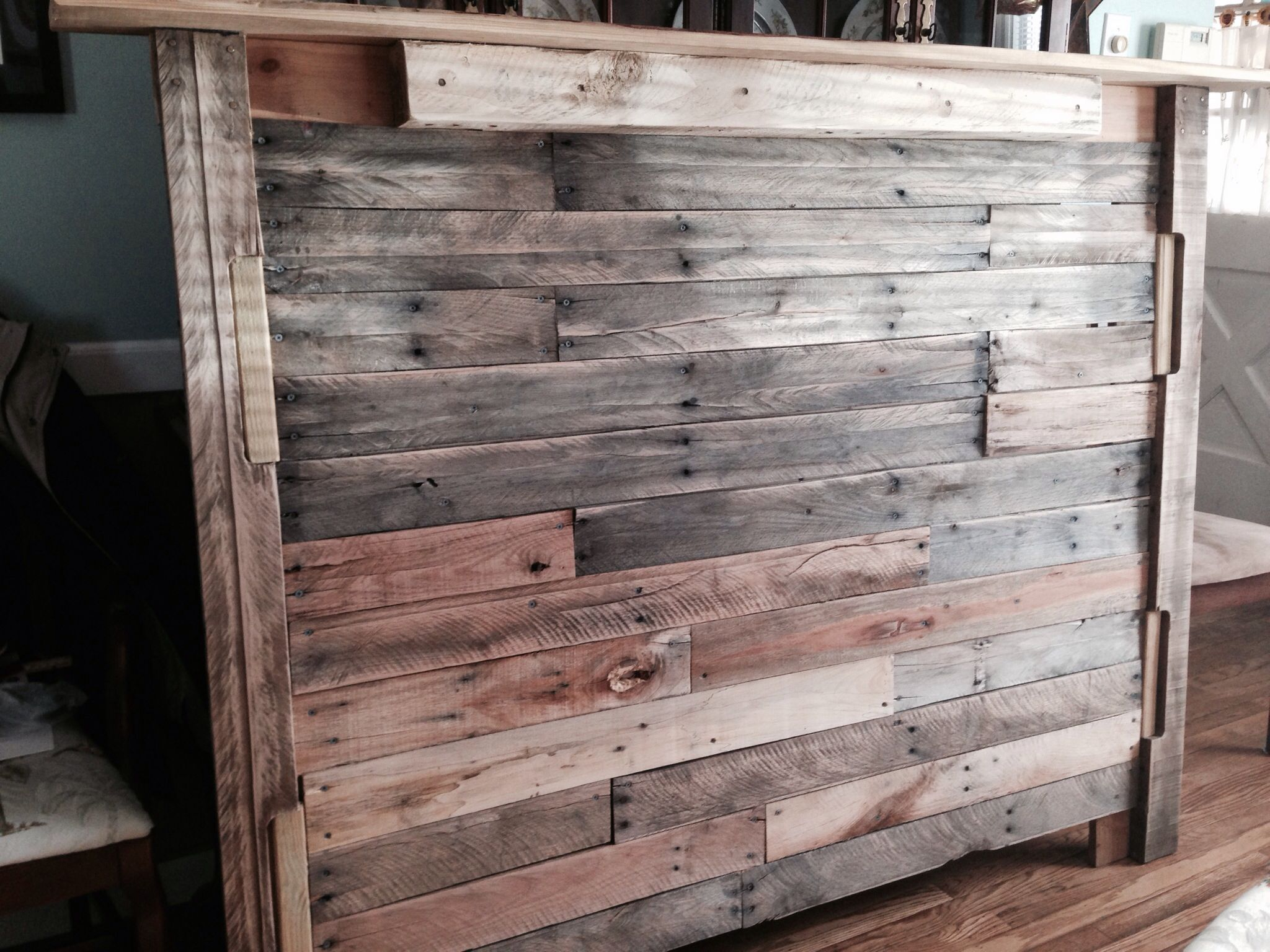 Headboard for our room made by Christopher Catrambone from pallets.