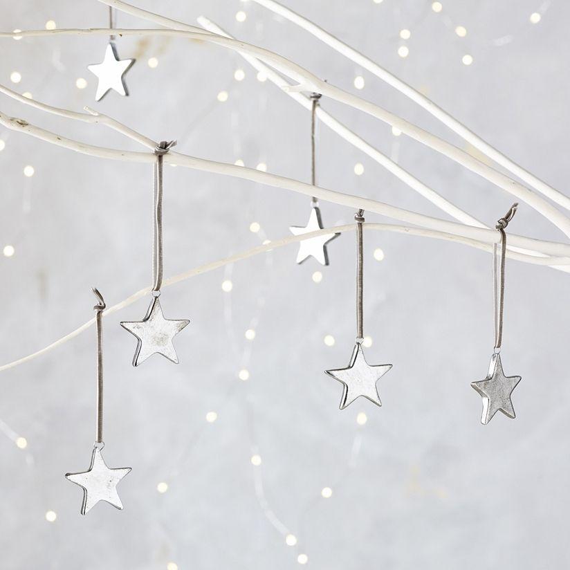 Mini Star Christmas Decorations Set Of 6 Tree The White Company Uk