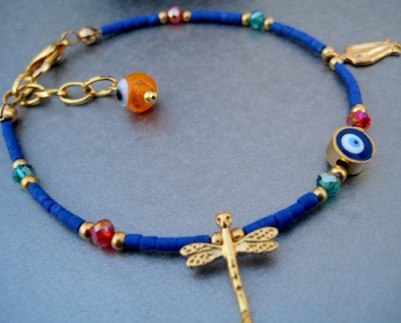 Adjustable Royal Blue/Gold Story lucky Charm by elsyrene on Etsy, $12.98