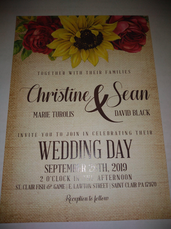Red Rose Sunflower Wedding Invitation & RSVP Postcard